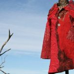 red felted coat